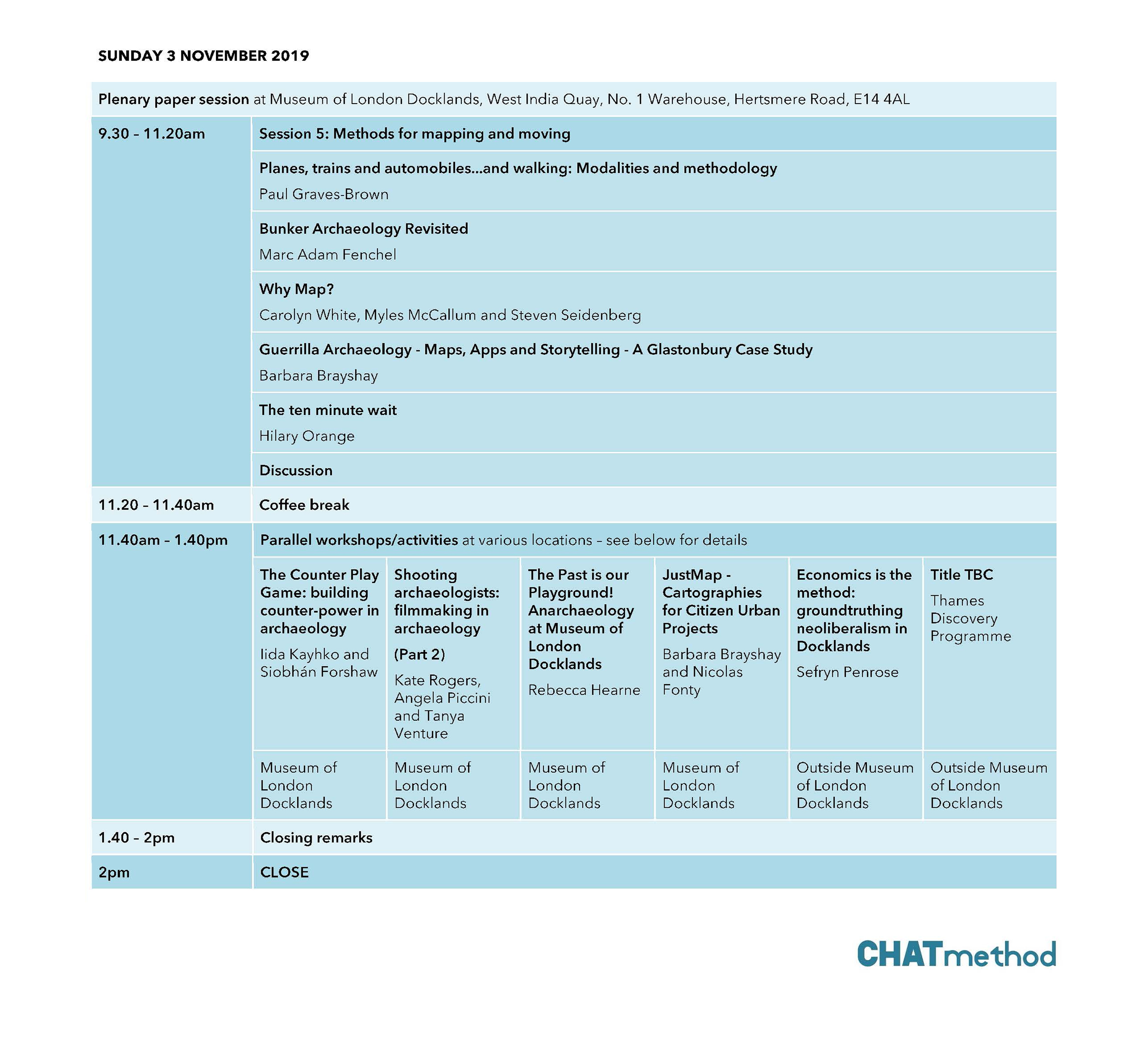 CHATmethod provisional timetable - Day 3