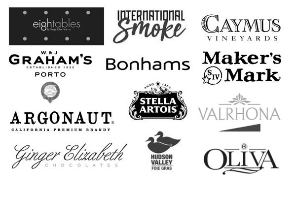 EighTables, International Smoke, Caymus Vineyards, Graham's, Bonhams, Maker's Mark, Argonaut, Stella Artois, Valrhona, Ginger Elizabeth, Hudson Valley, Olivia