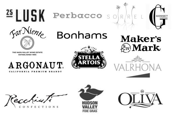25 Lusk, Perbacco, Sorrel, Gosset, Far Niente, Bonhams, Maker's Mark, Argonaut, Stella Artois, Valrhona, Recchiuti Confections, Hudson Valley, Olivia