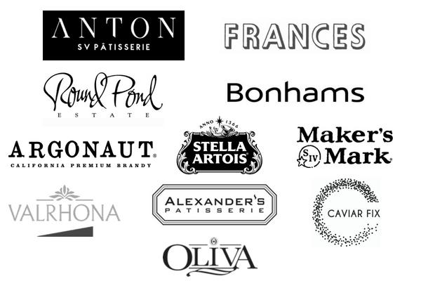 Anton SV Patisserie, Frances, Round Pond Estate, Bonhams, Argonaut, Stella Artois, Maker's Mark, Valrhona, Alexander's Patisserie, Caviar Fix, Olivia