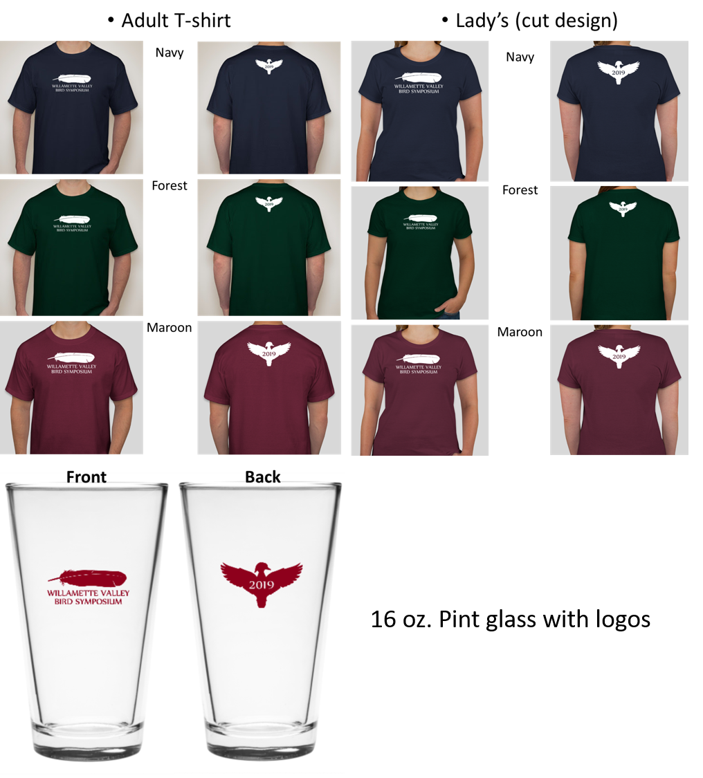 Images of t-shirts with logos and pint glasses with logoes. T shirts are in Navy, Maroon and Forest Green color