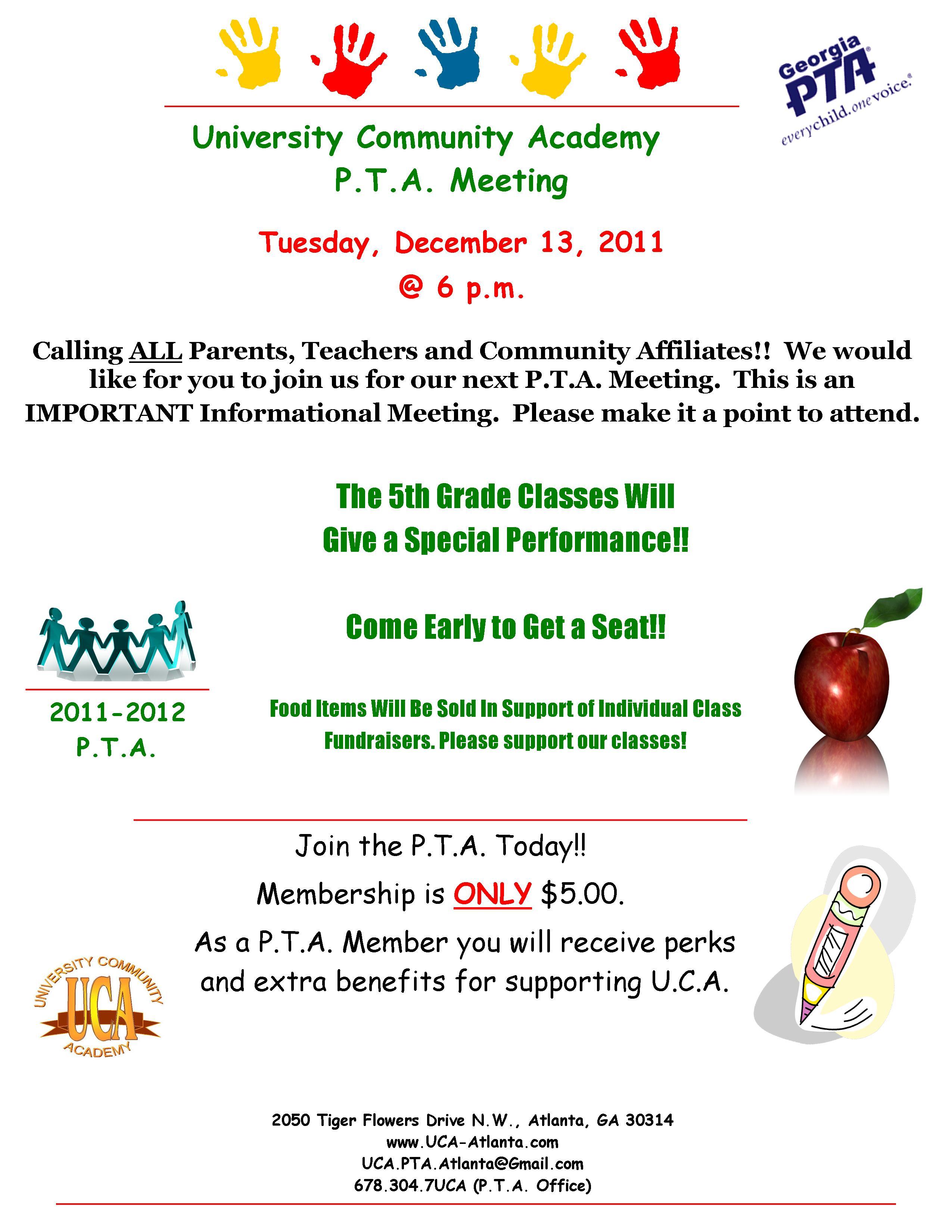 University Community Academy December P.T.A. Meeting ...