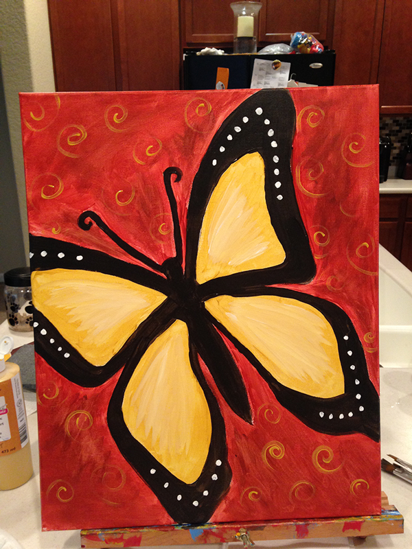 Lake nona social wine and paint nite butterfly tickets for Wine and paint orlando
