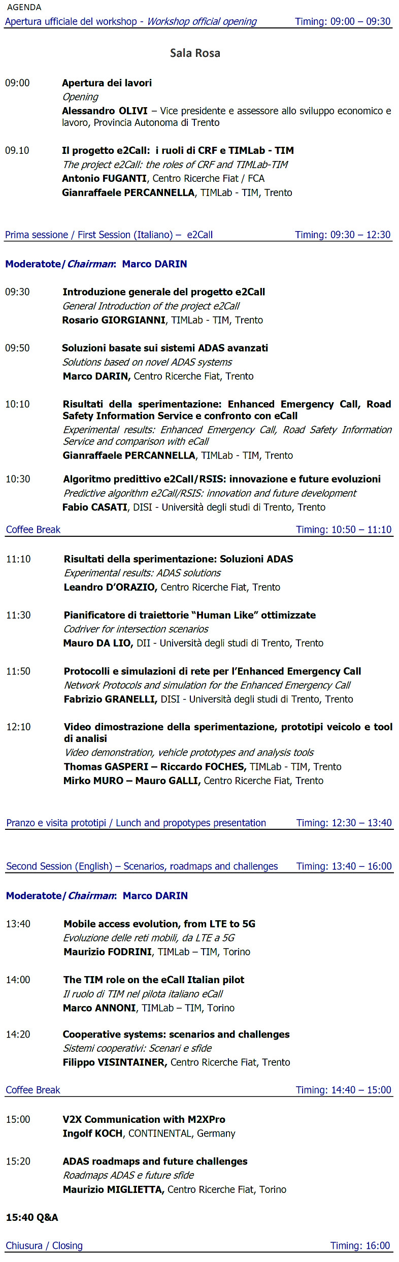 Agenda e2Call Final Workshop