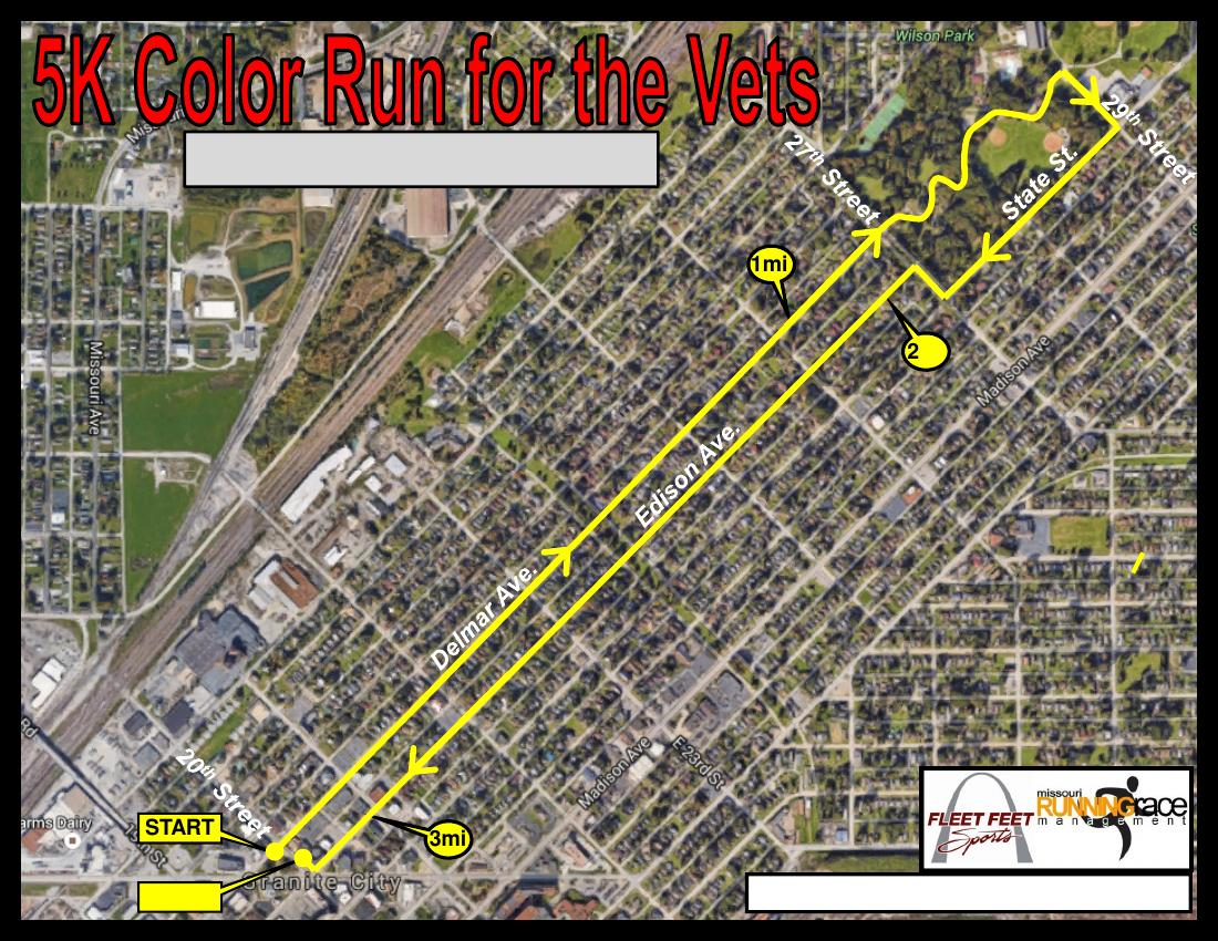 5k Color Run For The Vets Granite City Il Tickets Sat