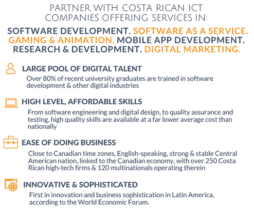 Partner with Costa Rican ICT Companies offering services in: Software Development. Software as a service. Gaming & Animation. Mobile App Development. Research & Development. Digital Marketing.