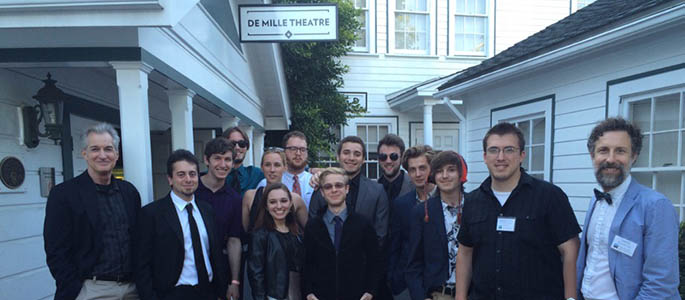 Cinema students and faculty outside of the historic Cecil B. Demille Theatre at the Culver Studios in Los Angeles for the 2015 Cinema Showcase.