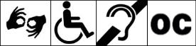 Accessibility symbols including American Sign Language, Universal symbol of access (wheelchair), Assisted listening, and open caption symbols.