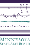 MN State Arts Board logo, multiple lines in purple depicting music notation, sound waves, and a thick and tapered green line all atop the words Minnesota State Arts Board.