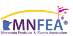 MNFEA logo, shape of Minnesota followed by MNFEA in block letters, and a pink wavy flag atop the A with a yellow line swooping over the entire image like a rainbow.