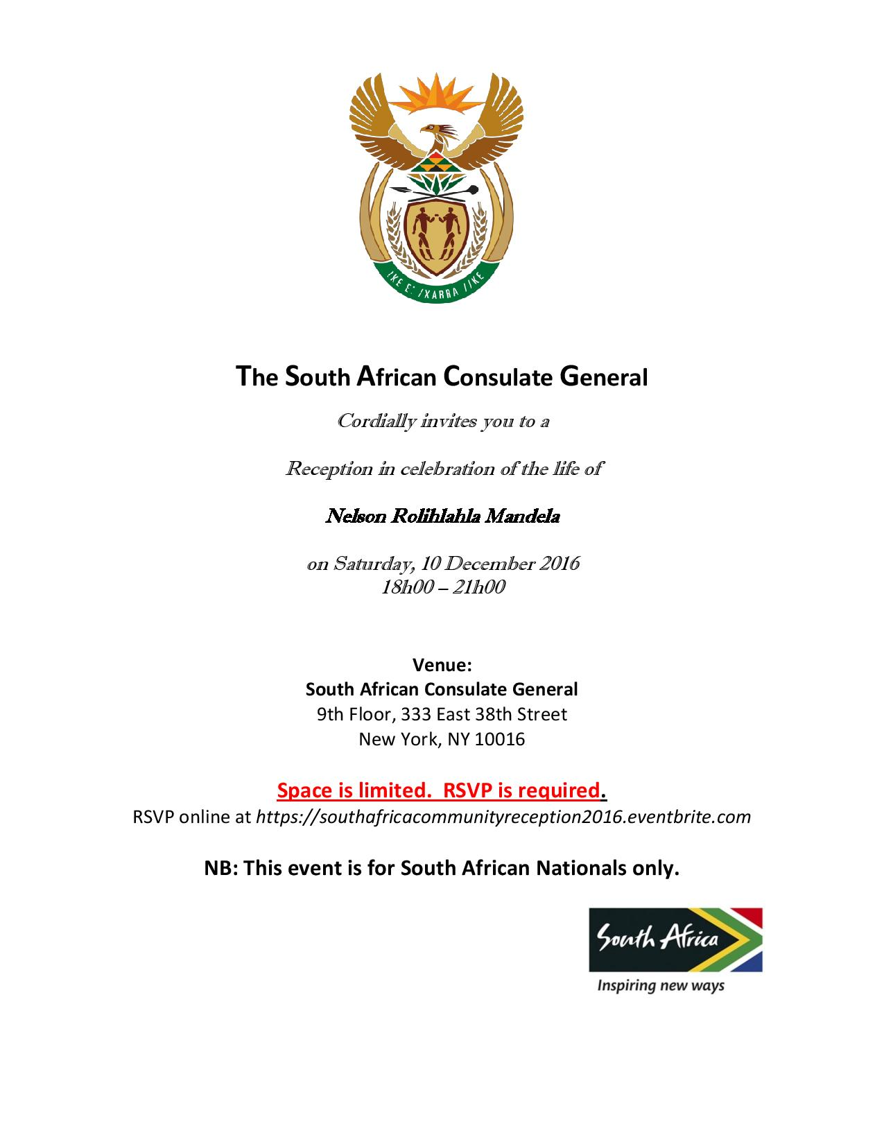 South African Community Reception Invite 2016