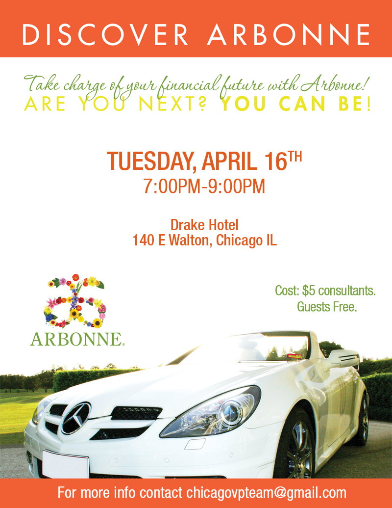 Discover Arbonne Drake Hotel April 16th 7pm