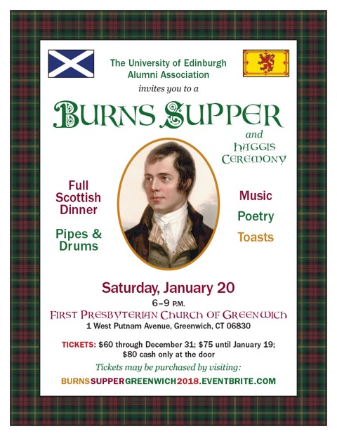 event flyer for Burns Supper 2018