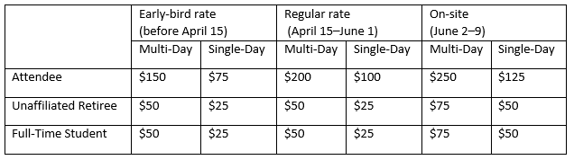 table with ticket pricing
