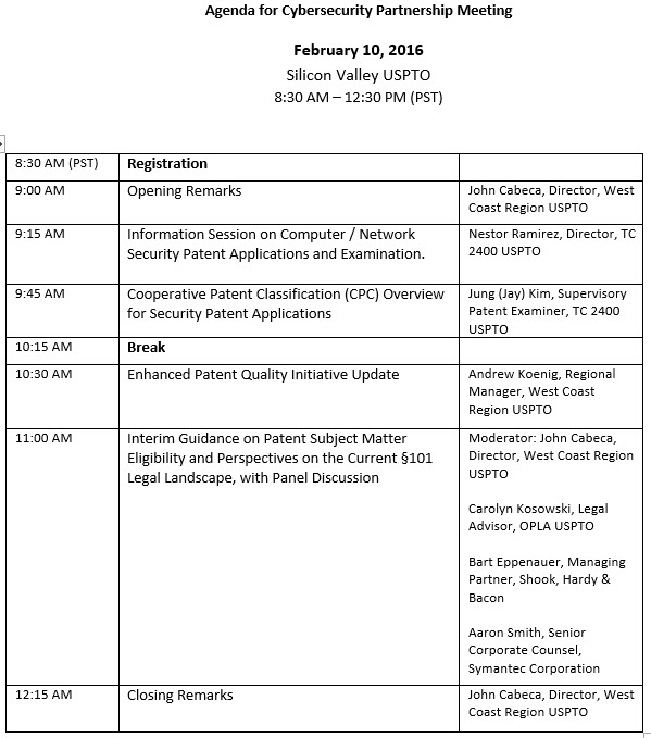 Agenda for Cybersecurity Partnership Meeting