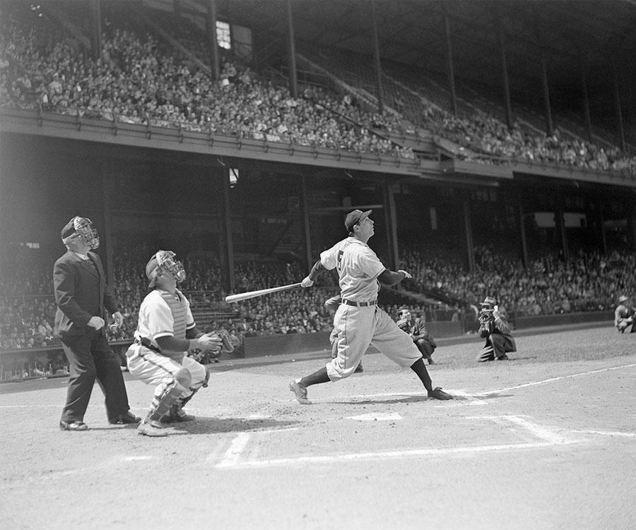 (Hank Greenberg hitting a third-inning homer against the Philadelphia Phillies, April 29, 1947. Donated by Corbis.)