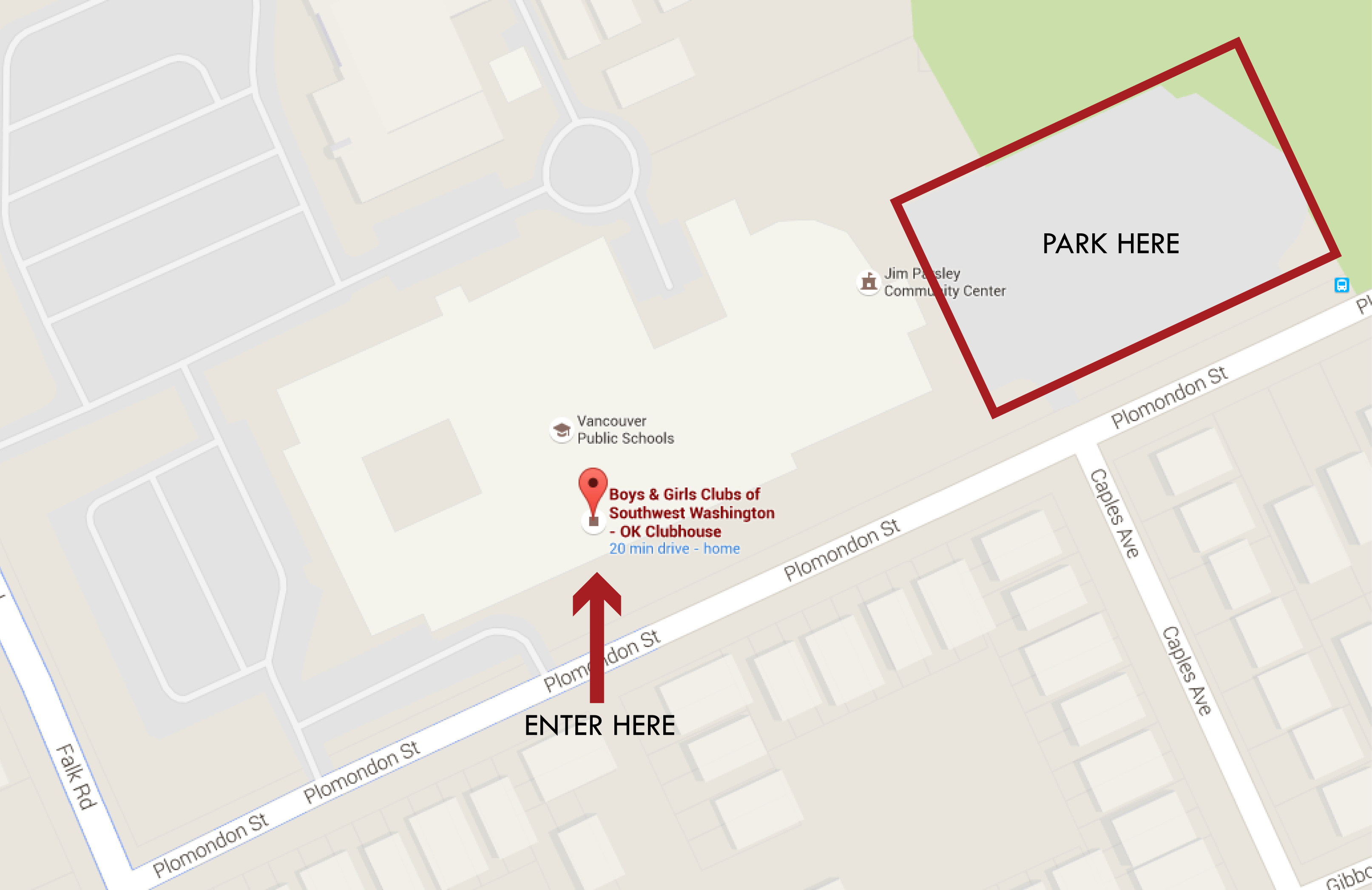 O.K. Clubhouse Annotated Map for Parking & Entrance