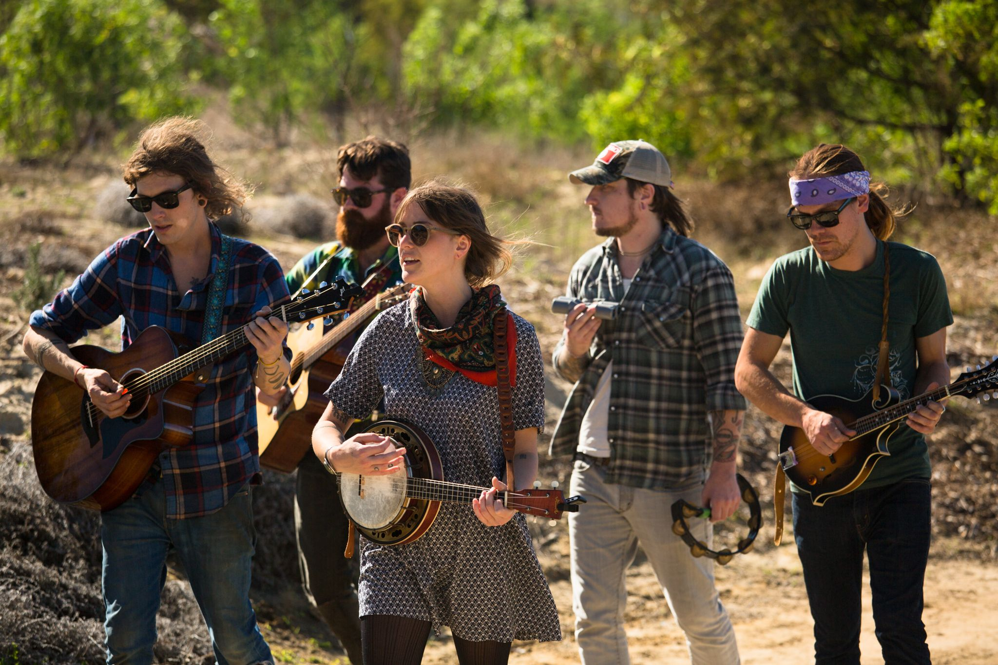 Coral Bells, music group, performing in the Food Forest.
