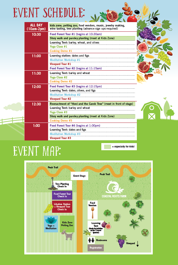 Tu B'shvat schedule of events and map