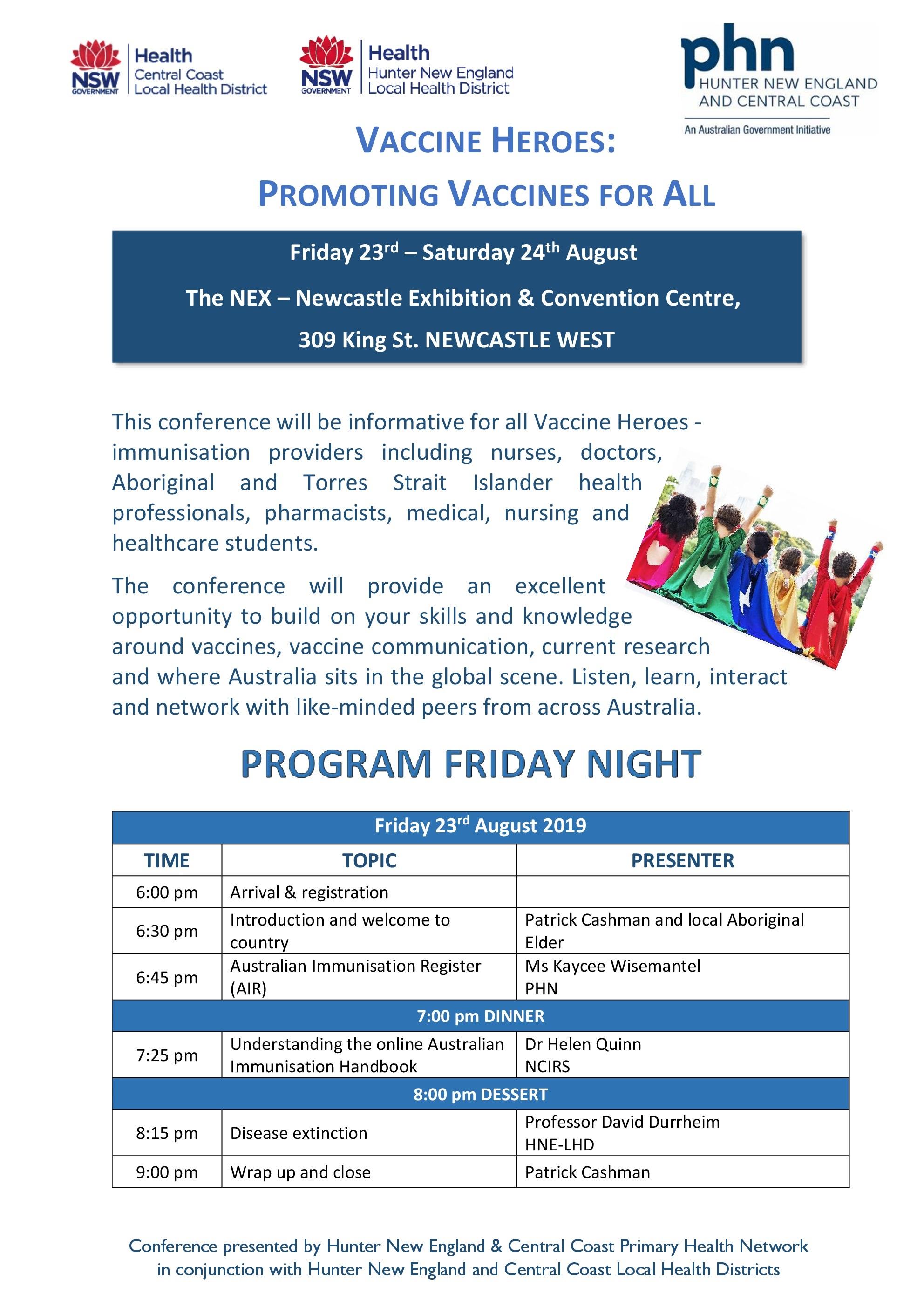 Program Friday 23rd August 2019