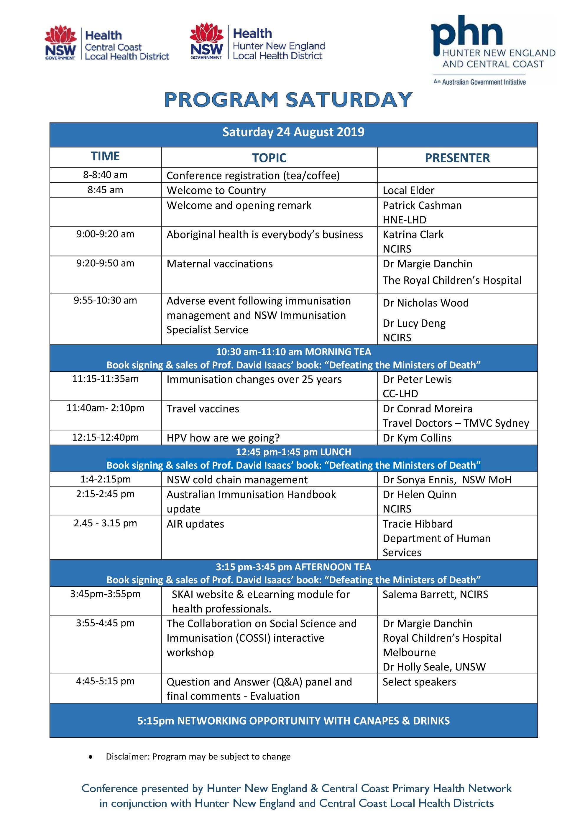 Program Saturday 24th August 2019