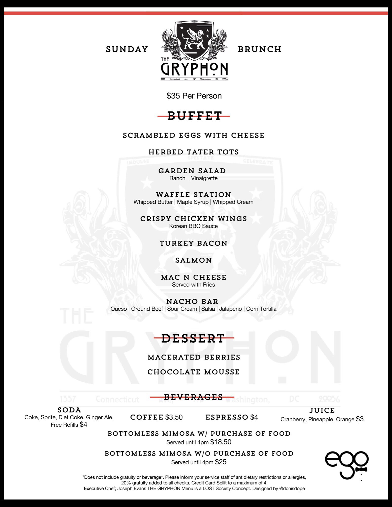 Gryphon Sundays Brunch Menu