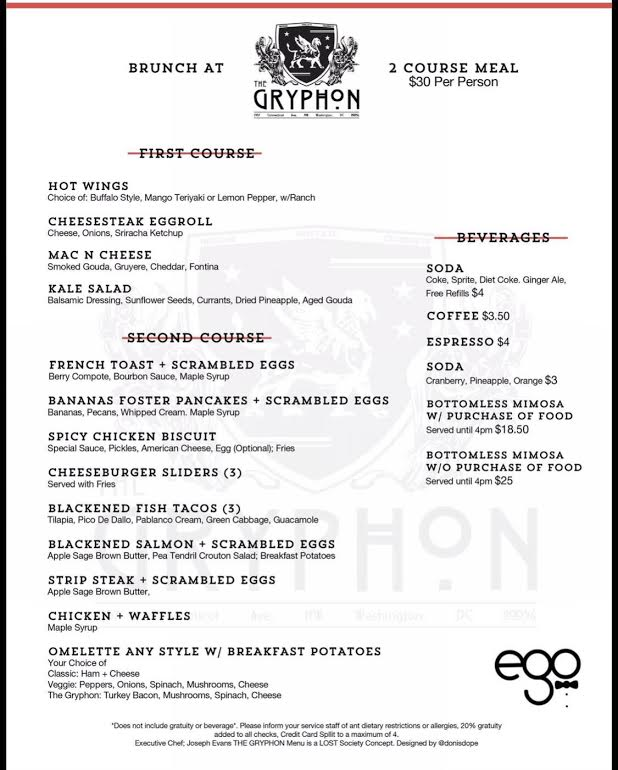 Brunch menu for Gryphon Sundays