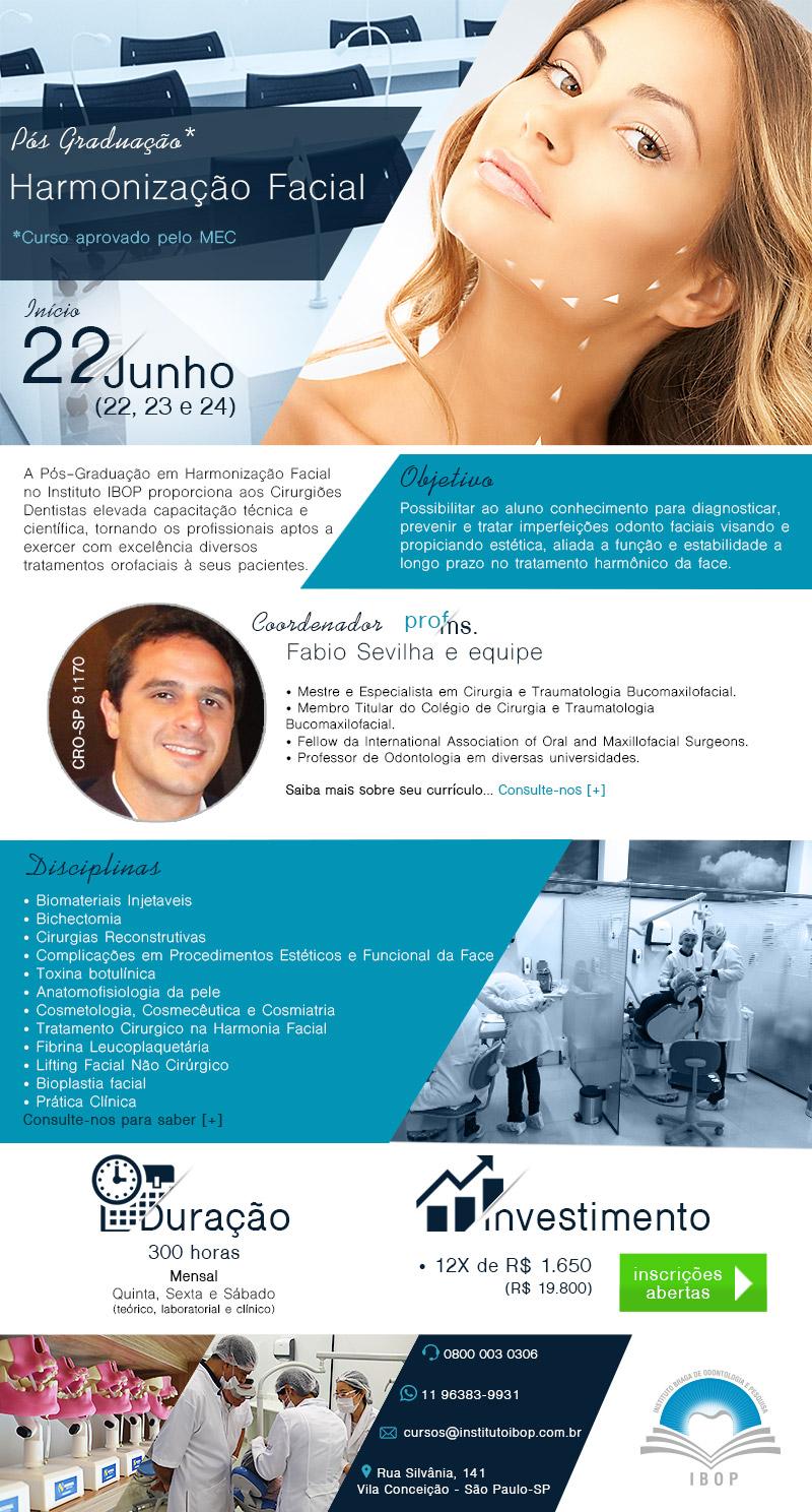 A Pós-Graduação em Harmonização Facial no Instituto IBOP proporciona aos Cirurgiões Dentistas elevada capacitação técnica e científica, tornando os profissionais aptos a exercer com excelência diversos tratamentos orofaciais à seus pacientes.