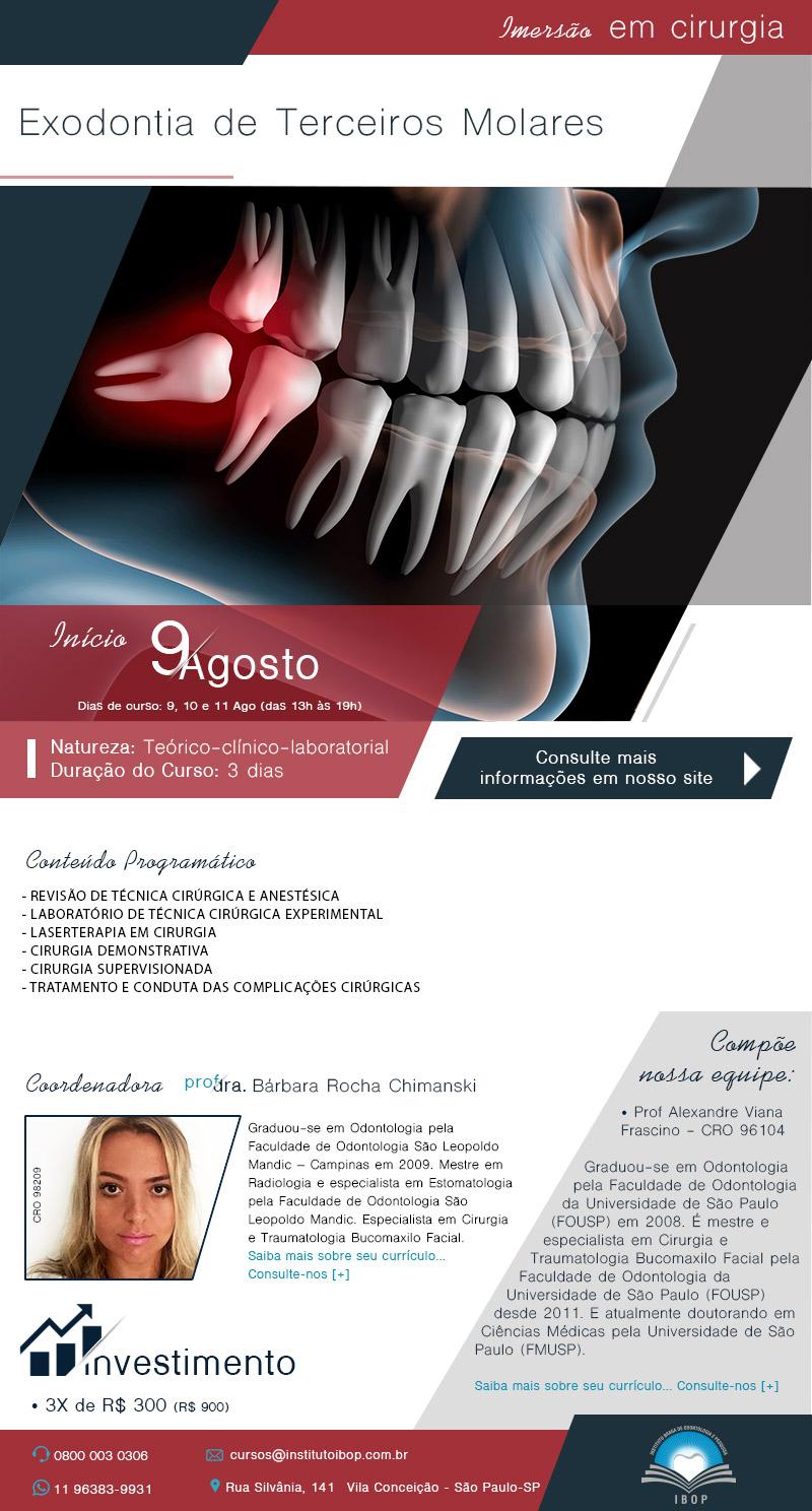A exodontia dos terceiros molares representa uma importante parte do cotidiano da clínica cirúrgica e as peculiaridades anatômicas da região e o alto risco de complicações inerentes ao procedimento exigem do cirurgião-dentista o conhecimento teórico-prático completo da técnica cirúrgica e suas variações.