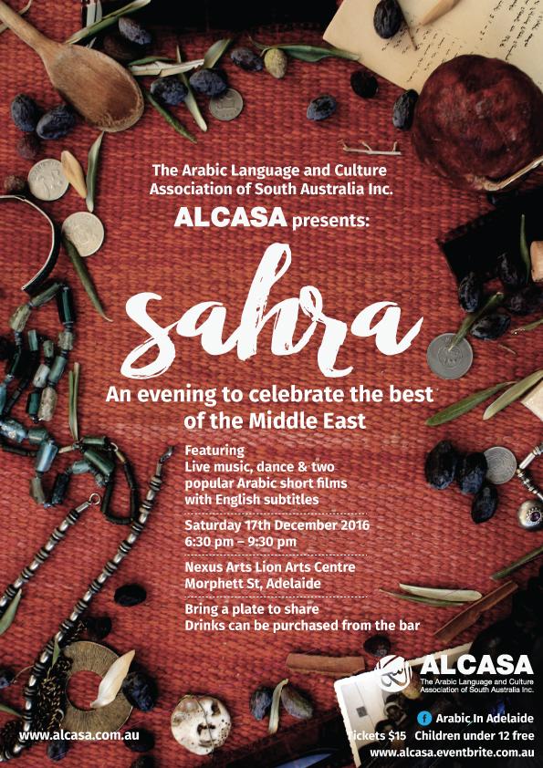 2016 ALCASA Sahra, Saturday 17/12/2016, 6;30 to 9:30 pm