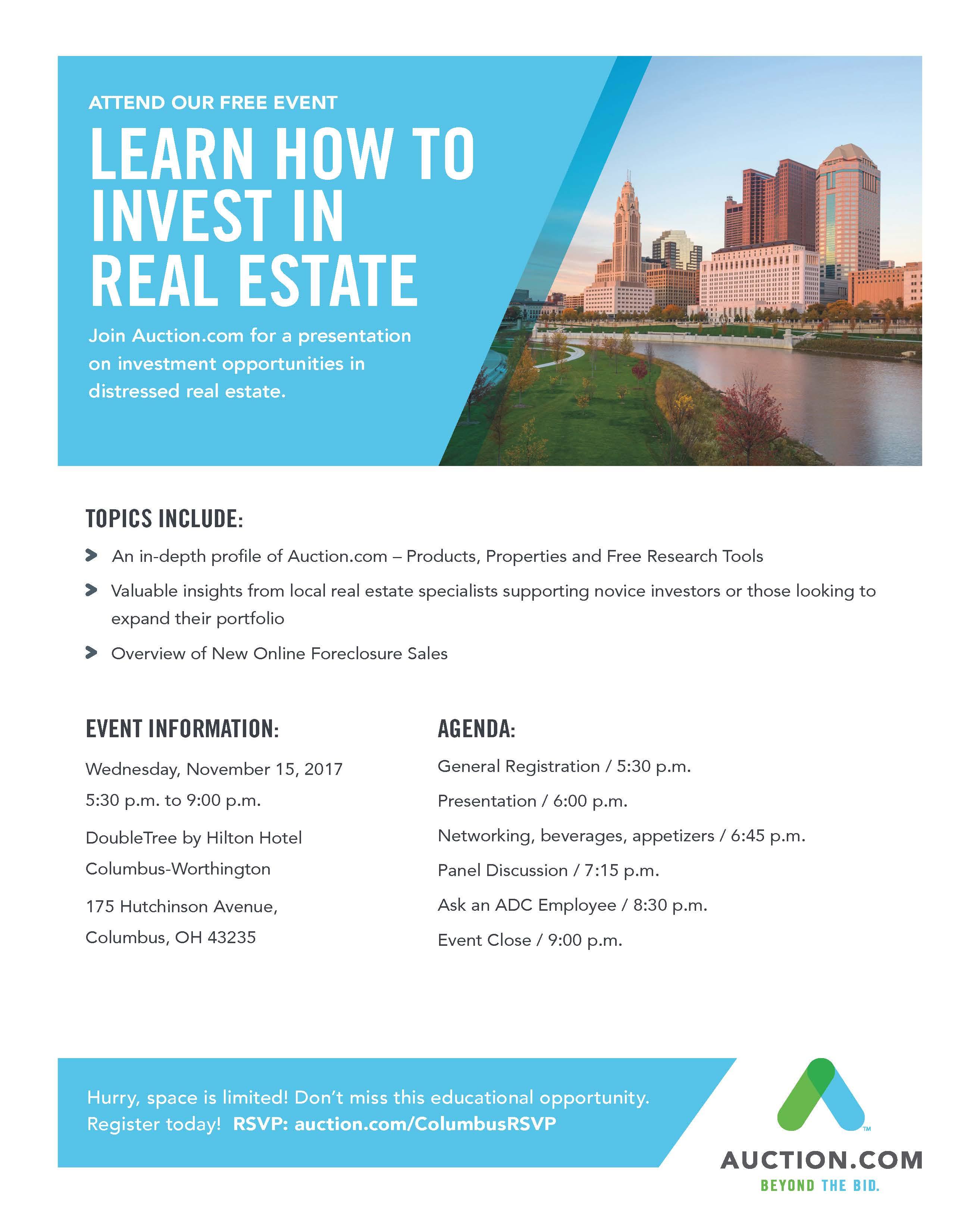 Nov 15th Columbus, OH - Auction.com FREE Seminar