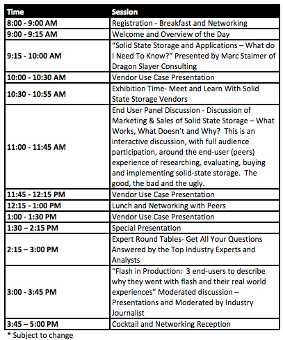Solid State Storage Conference Agenda