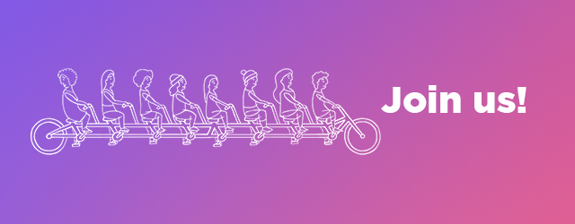 Join Us + tandem biker illustration
