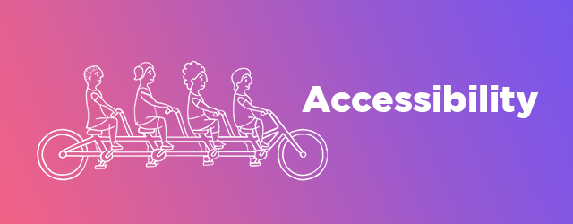 says accessibility and image of tandem bikers over pink-purple gradient