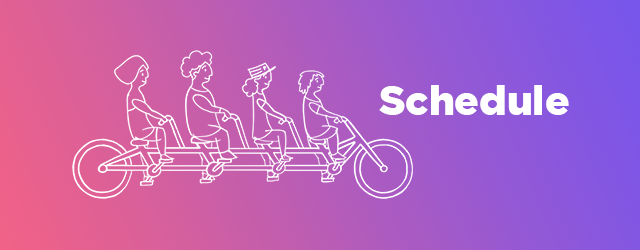 Schedule + tandem bike illustration