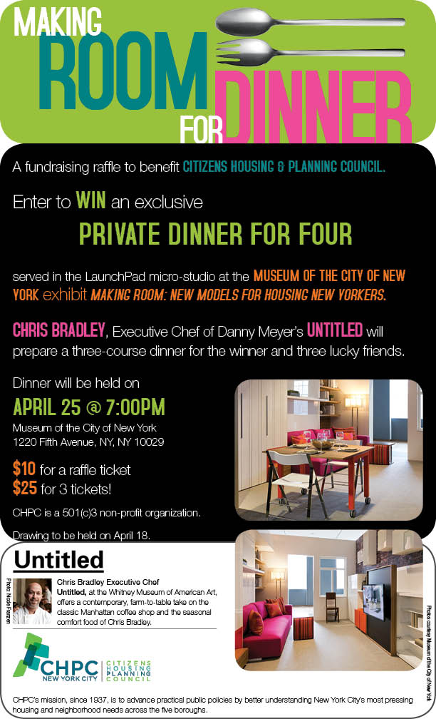 Win dinner for four in the LaunchPad micro-studio at the Making Room Exhibition at the Museum of the City of New York