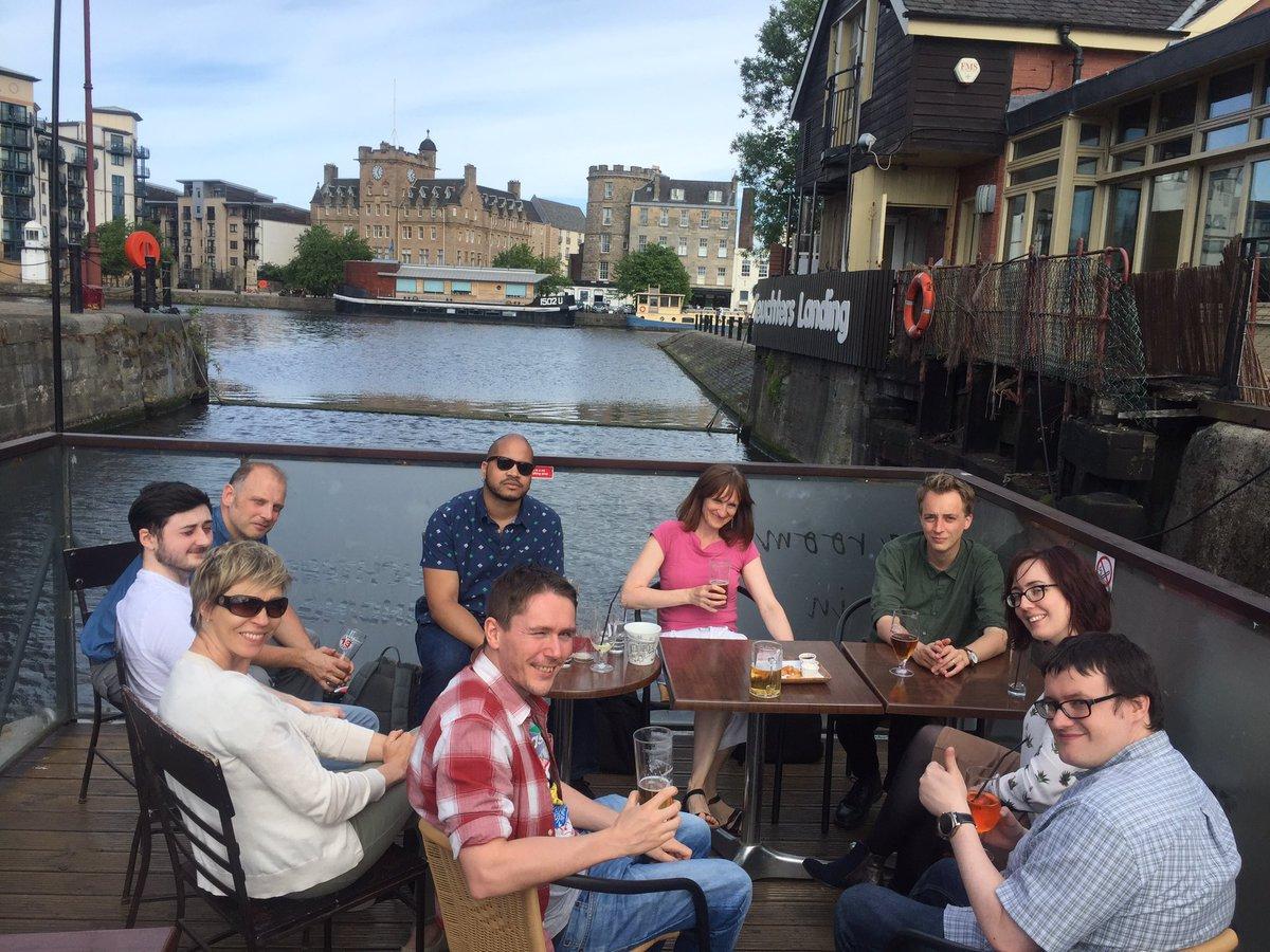 Content professionals enjoying a drink