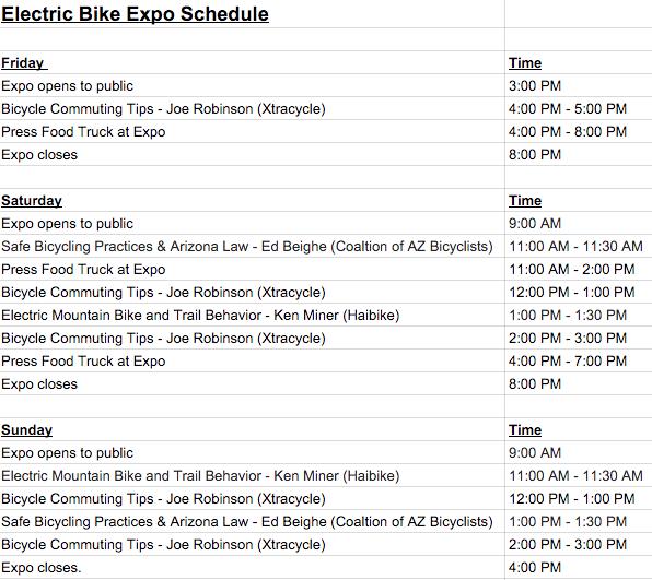 Phoenix Electric Bike Expo Schedule