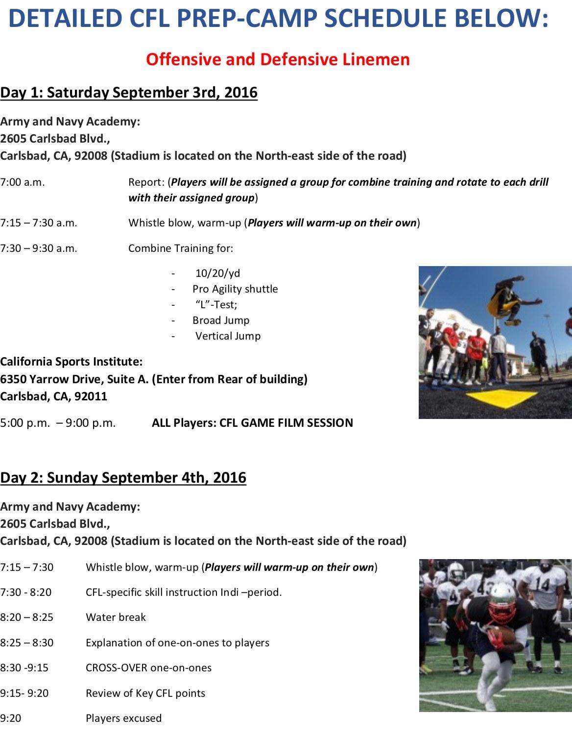 CFL Prep Camp Schedule 1