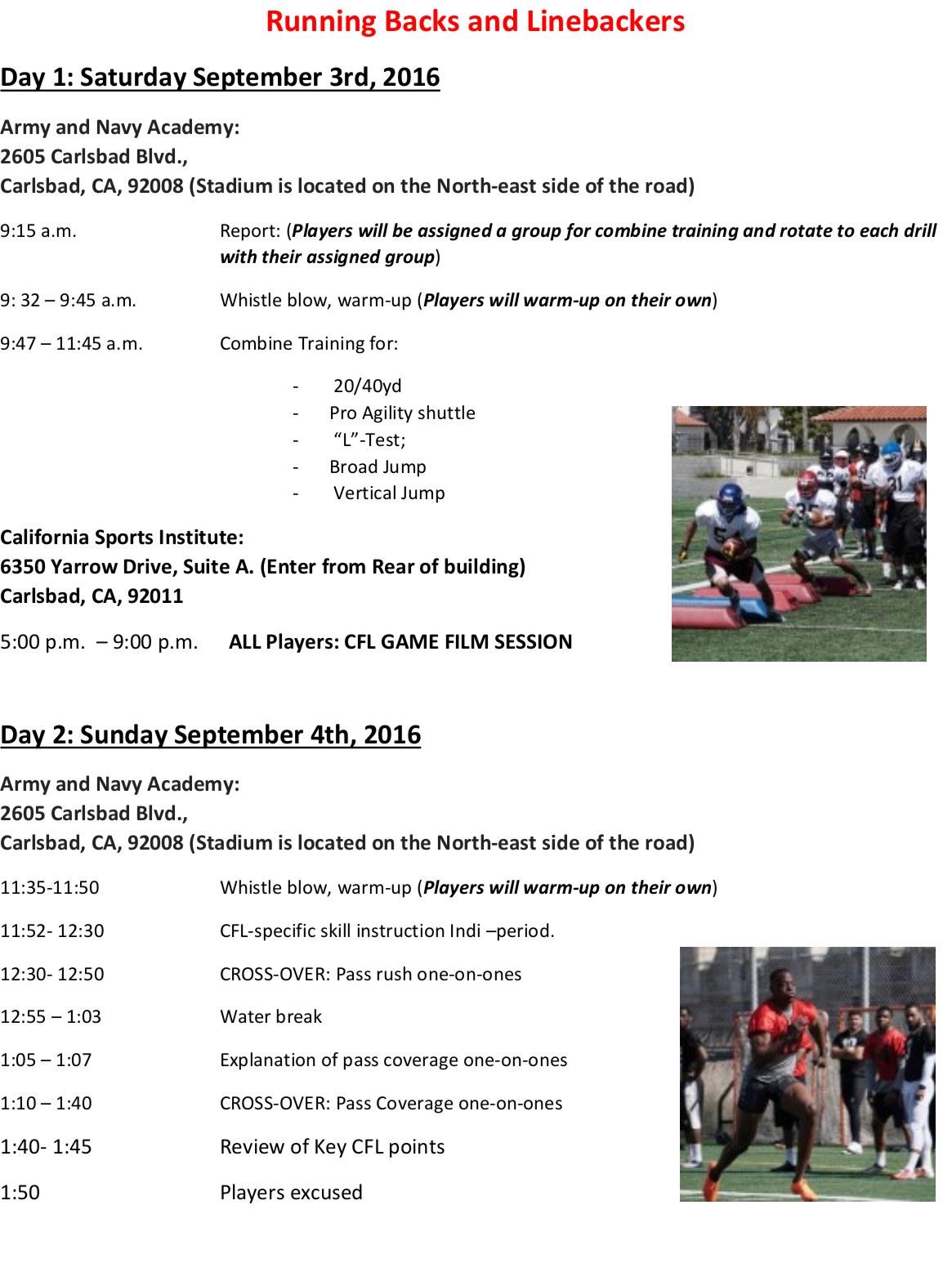 CFL Prep Camp Schedule 2