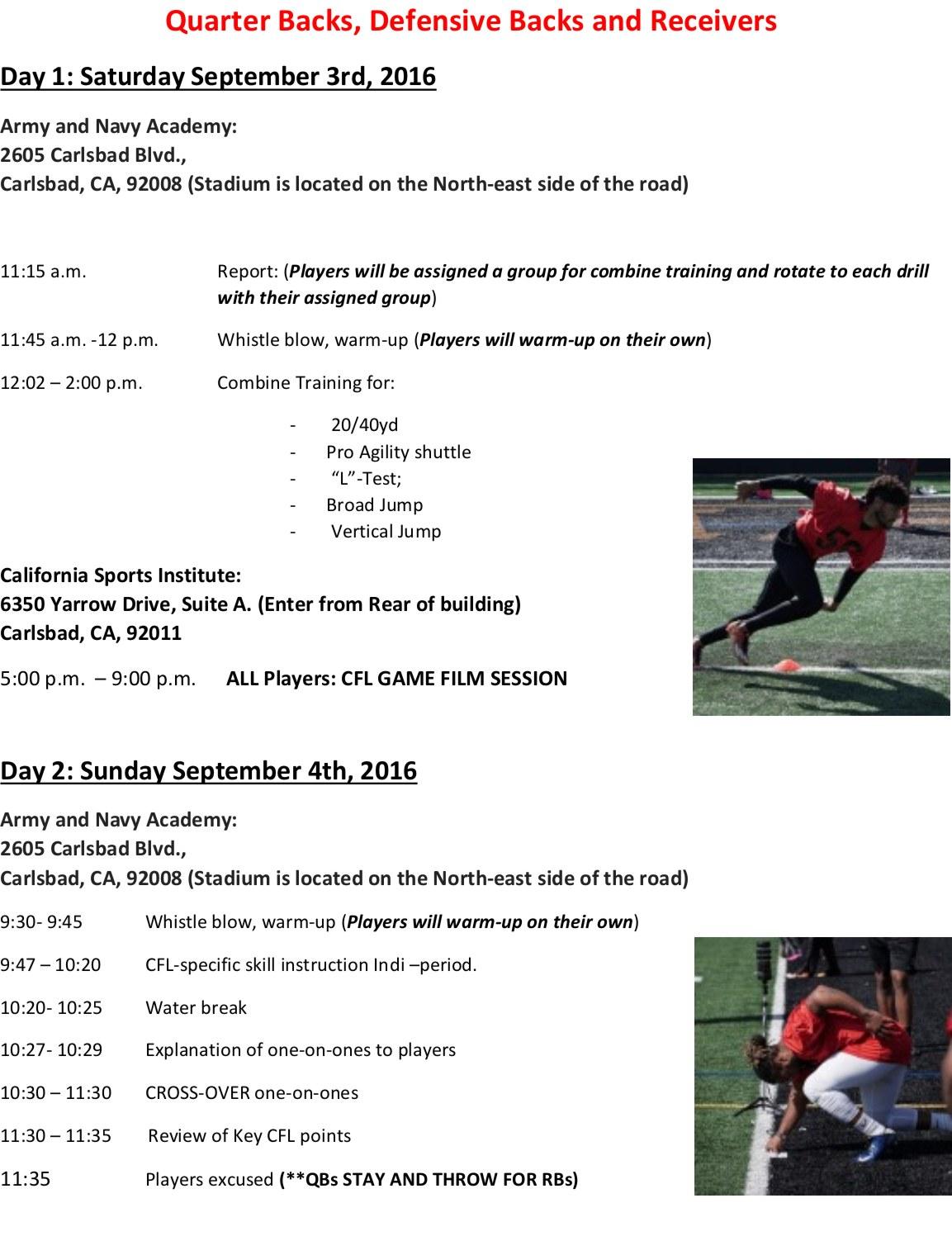 CFL Prep Camp Schedule 3