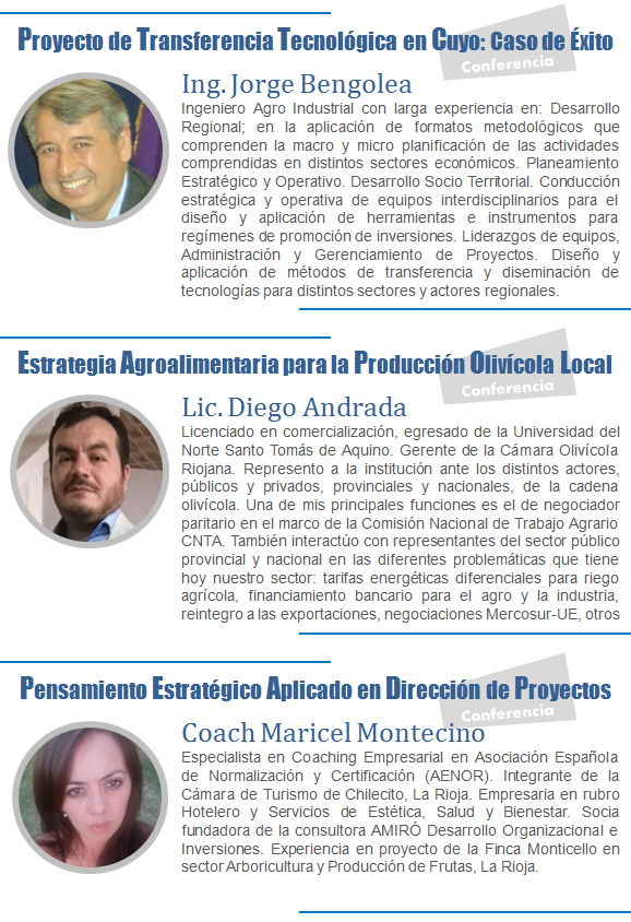 Disertantes Jornadas Cuyanas La Rioja 2016