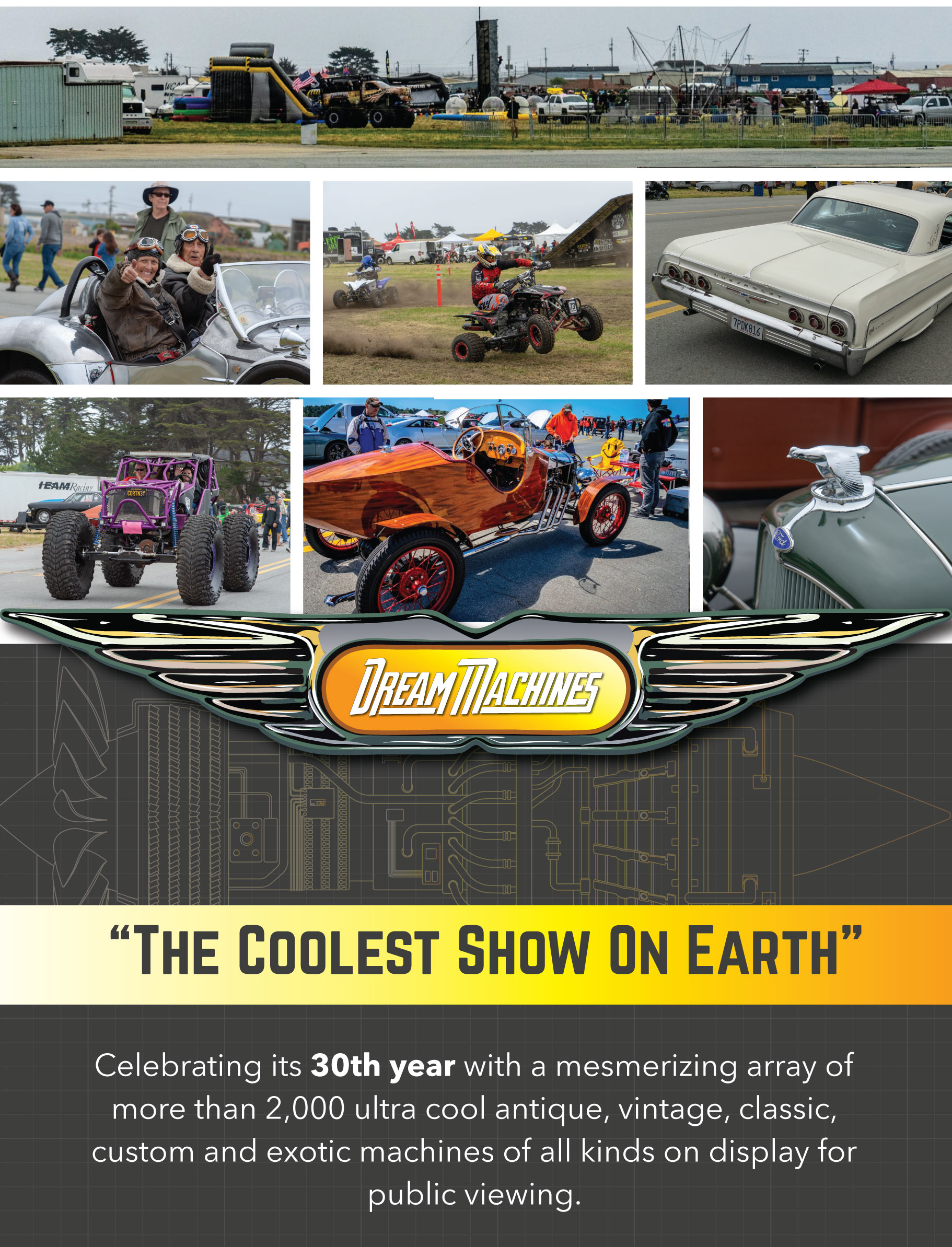 Celebrating its 30th year with a mesmerizing array of more than 2,000 ultra cool antique, vintage, classic, custom and exotic machines of all kinds on display for public viewing.