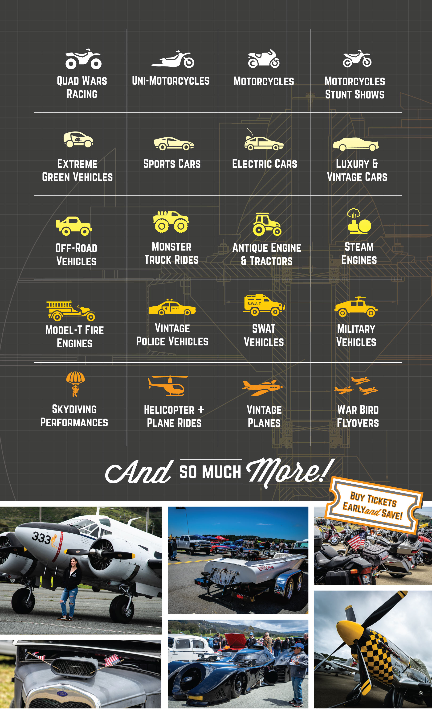 quad wars, uni motorcycles, sports cars, electric cars, luxury cars, off road vehicles, tractors, monster truck rides