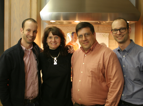 Picture of Matt Lee, Kelly and John Colacioppio (The Cook's Station owners) and Tedd Lee at their 2010 book siging at our store