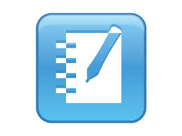 blue square logo with rounded edges with pen writing in the center