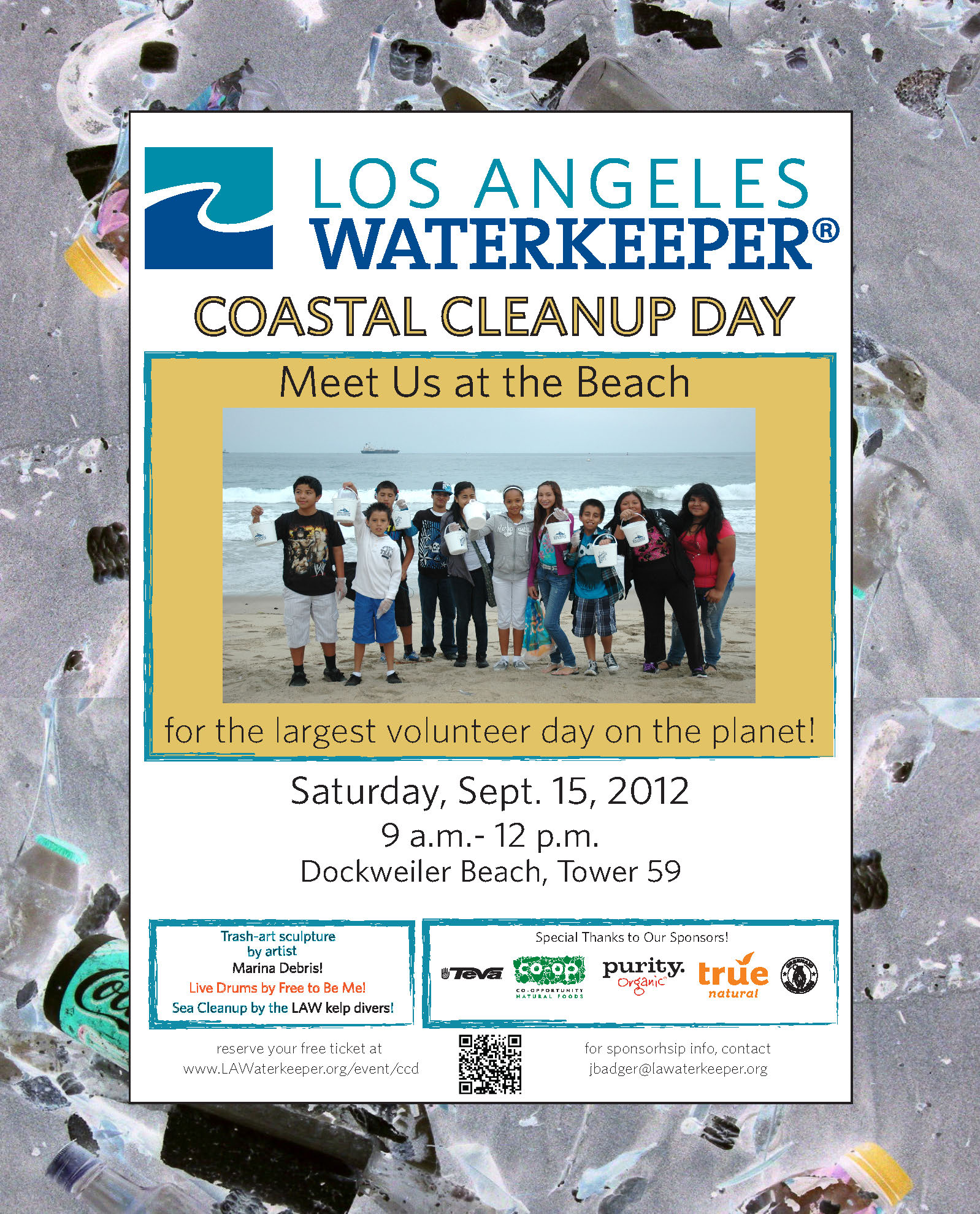 Meet us at Dockweiler Beach, Tower 59 for Coastal Cleanup Day