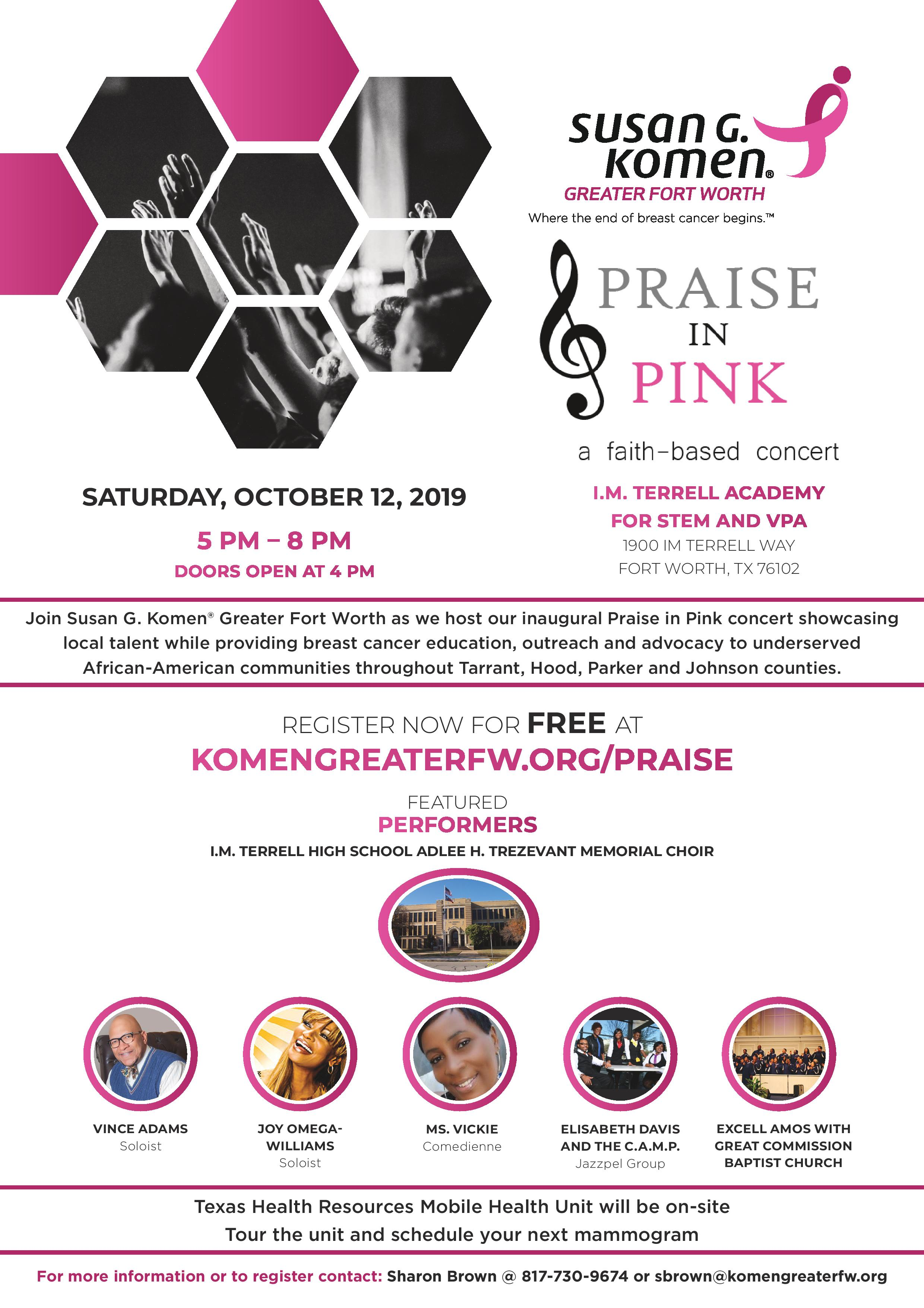 Praise in Pink event flyer