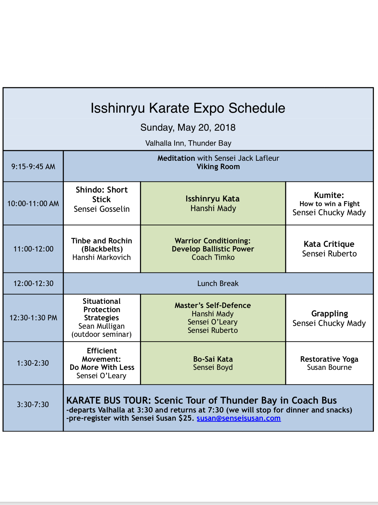Sunday, May 20 Schedule
