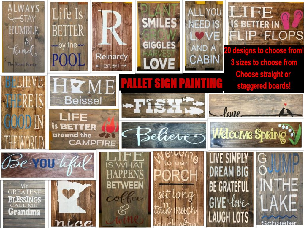 Pallet sign choices